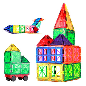 Image 1 - 60pcs Hot Selling Transparent Magnetic Sheet Building Block Set with Wheels Childrens Toys Hot Selling