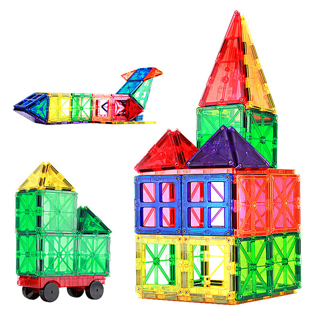 60pcs Hot Selling Transparent Magnetic Sheet Building Block Set with Wheels Childrens Toys Hot Selling