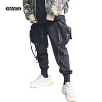 Men Big Pocket Hiphop Dancing Casual Pants Male Dark Black High Street Harem Pants Joggers Trousers Sweatpants