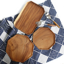 Octagon Acacia Wood Tray Wooden Food Party Serving Dinner Plate for Cake Bread Rectangular Fruit Tea Classical