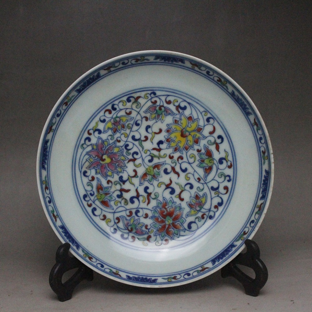 White ceramic plates for crafts - Antique Qingdynasty Porcelain Plate Pastal Longevity Plate Hand Painted Crafts Decoration