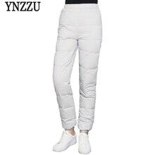 ใหม่ฤดูหนาวสบายๆ 90% สีขาวเป็ดลงกางเกงผู้หญิงสูงเอว Thicken กางเกงอบอุ่น Windproof หญิงกางเกง AB125