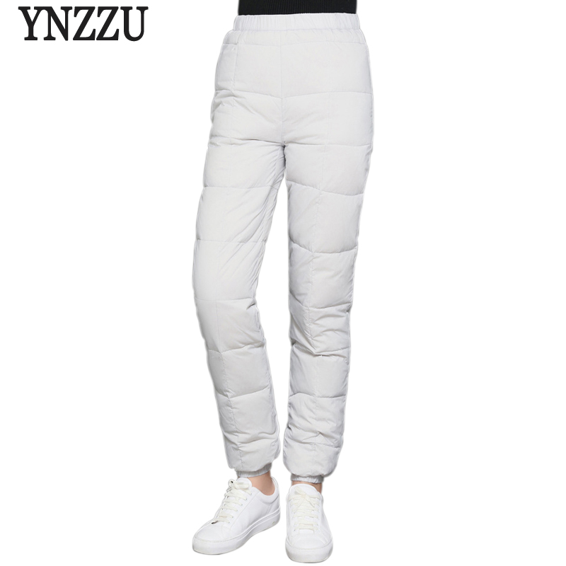 Solid New Winter Casual 90% White Duck Down Pants Women High Elastic Waist Thicken Warm Trousers Windproof Female Pants AB125