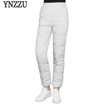 Solid New Winter Casual 90% White Duck Down Pants Women High Elastic Waist Thicken Warm Trousers Windproof Female Pants AB125 shuchan winter 90% white duck down trousers women safari style elastic high waist cargo pants thick warm high quality