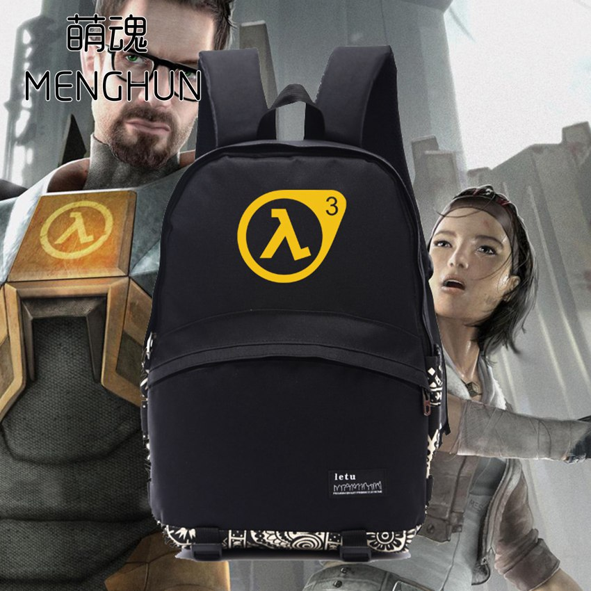 55a1a9f06b4b Black Nylon backpack half life backpacks game fans daily use big backpack  school bag for student NB135-in Backpacks from Luggage   Bags on  Aliexpress.com ...