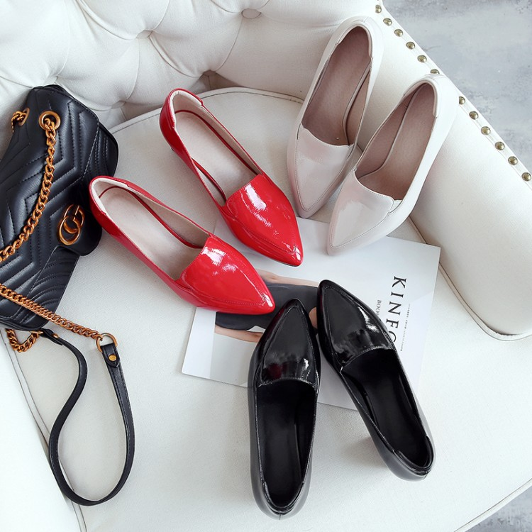 MLJUESE 2018 women pumps Patent leather autumn spring red color pointed toe square heel high heels pumps office lady shoes sophitina women autumn pumps high quality patent leather sexy pointed toe thick heel pumps handmade party office lady shoes w13