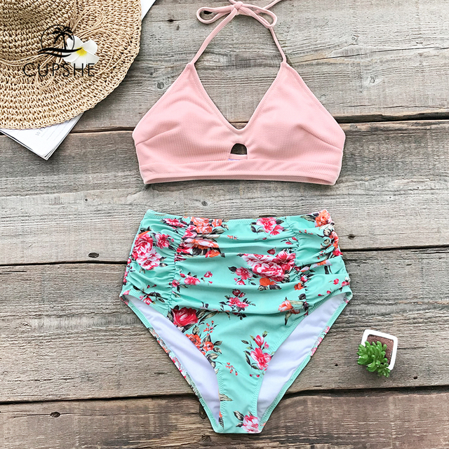a63efeec2e6 CUPSHE Pink And Floral High-waisted Bikini Sets Women Halter Two Pieces Swimsuits  2019 Girl Beach Bathing Suits Swimwear