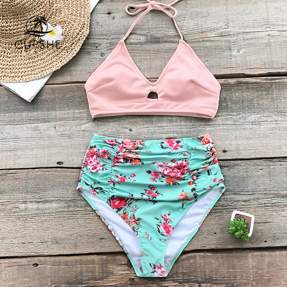 CUPSHE Pink And Floral High-waisted Bikini Sets Women Halter Two Pieces Swimsuits 2020 Girl Beach Bathing Suits Swimwear