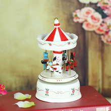 White resin merry-go-round music box desktop home decoration resin craft creative lover birthday gift