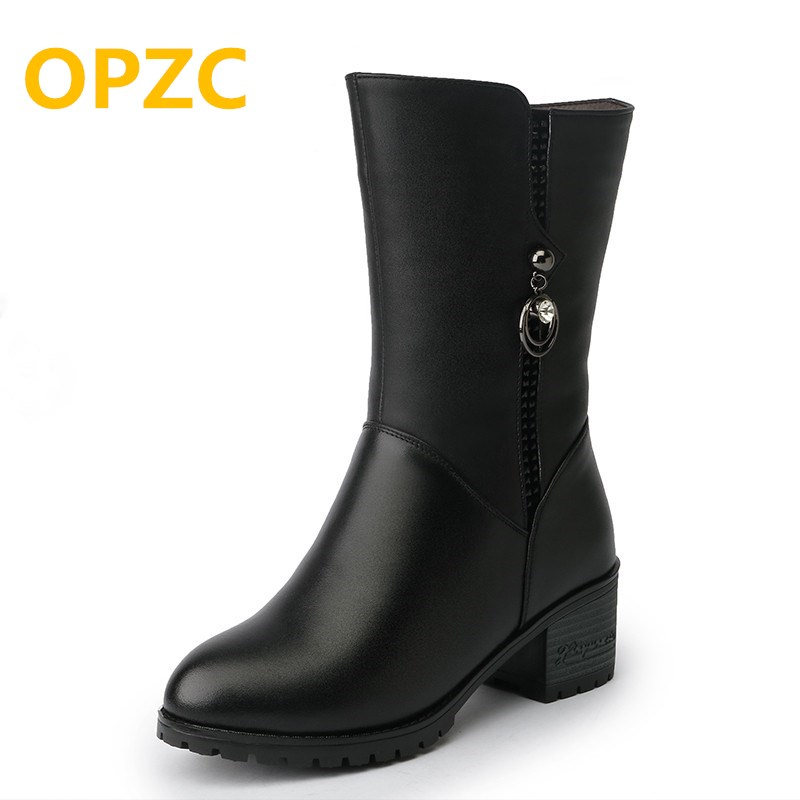 2018 winter new genuine leather female rubber boots warm wool snow boots size 41 42 43 women motorcycle booties ladies shoes ...