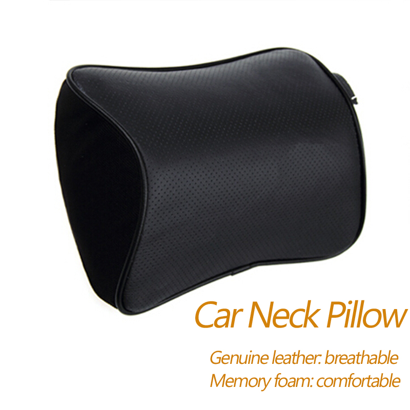 Car Styling 2pcs of Genuine Leather+Memory Foam Car <font><b>Pillow</b></font> Car Covers Auto Car Headrest Neck <font><b>Pillow</b></font> Seat Cushion Covers
