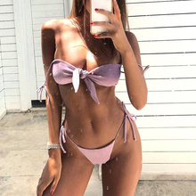 Bikinx Solid knot bathing suit women biquini String sexy swimwear Push up swimsuit summer beach wear Micro bikini 2019 bathers