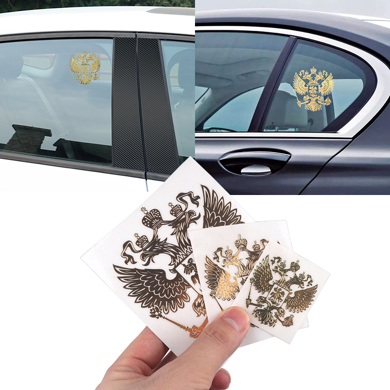 3D Metal Coat Of Arms Of Russia Nickel Metal Car Stickers Decals Russian Federation Eagle Emblem For Car Styling Laptop Sticker