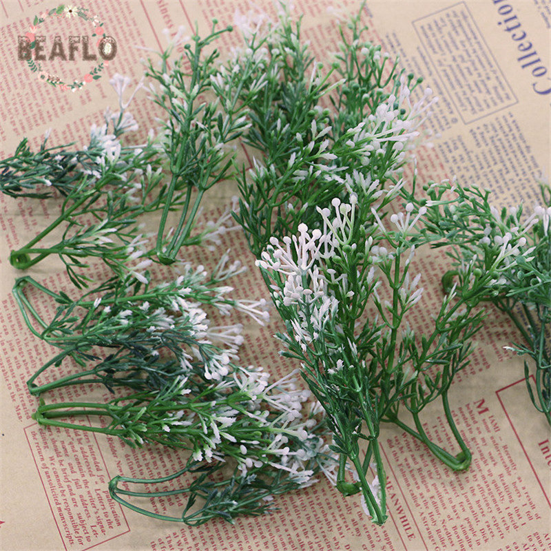 100PCs Plastic Artificial Baby's Breath Gypsophila Flower Head Silk Flower Wedding Flower Arrangement Accessories 10cm