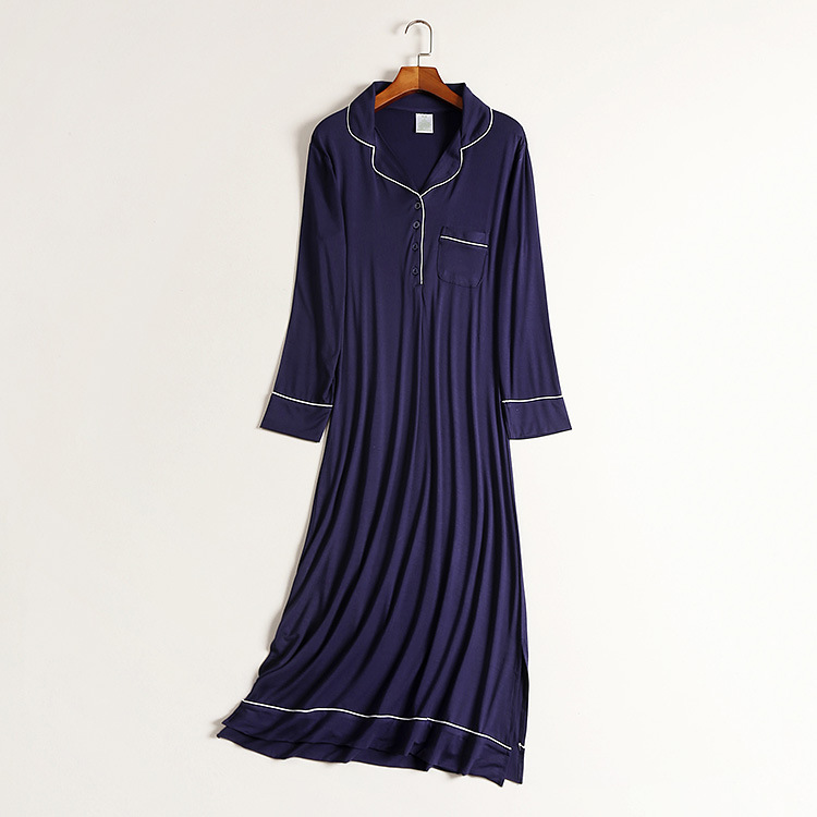 Spring Plus Size Nightdress Neckband Style Button Women   Nightgowns   Modal   Sleepshirts   Nightwear Home Sleepwear Dress
