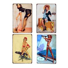 American Retro Poster Pin Up Girl Tin Signs Decoration Plaque Metal Vintage Cafe Club Bar Wall Decorative Home Decor 20x30 cm(China)
