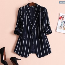 Women's cropped sleeves striped V-neck one button coat ladies business suit card