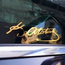 3 ratels MT 009 3.7*12 センチメートルトルコmustafa kemalアタチュルク署名黄金ニッケル金属sitcker車のステッカーとデカール