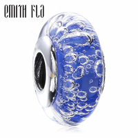 Emith Fla 100% Real 925 Sterling Silver Blue Bubble Murano Glass Beads Fit Original European Charm Bracelet Jewelry For Girl DIY