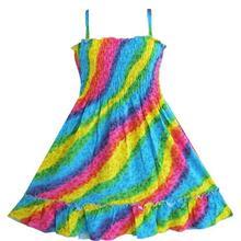 Girls Dress Rainbow Smocked Halter Children Clothing SZ 2018 Summer Princess Wedding Party Dresses Girl Clothes Size 2-10