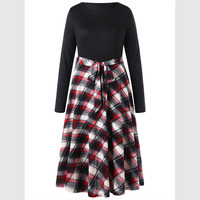 LANGSTAR 2018 New Spring Plus Size 5XL Plaid Fit And Flare Dress Women Autumn Casual Long