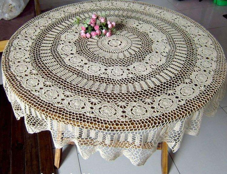 63 Inch 160cm Round Crochet Tablecloth Beige Vintage Handmade
