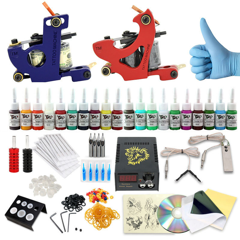 Complete profession Tattoo kits 10 wrap coils 2 guns machine 20 tattoo ink sets power supply disposable needle clip cord professional tattoo kit 5 guns complete machine equipment sets teaching cd ink for beginners body art beauty tools tk 2509 m
