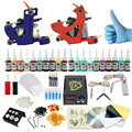 Complete profession Tattoo kits 10 wrap coils 2 guns machine 20 tattoo ink sets power supply disposable needle clip cord