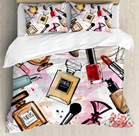 Girls Duvet Cover Set Cosmetic and Makeup Theme Pattern with Perfume Lipstick Nail Polish Brush Modern Lady Bedding Set