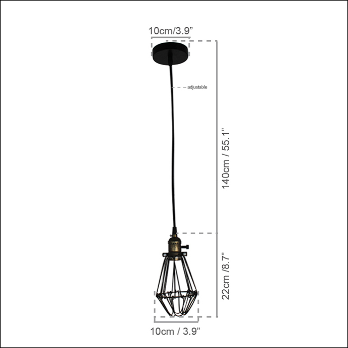 110 240v art deco vintage industrial antique metal cage pendant light factory wire steel