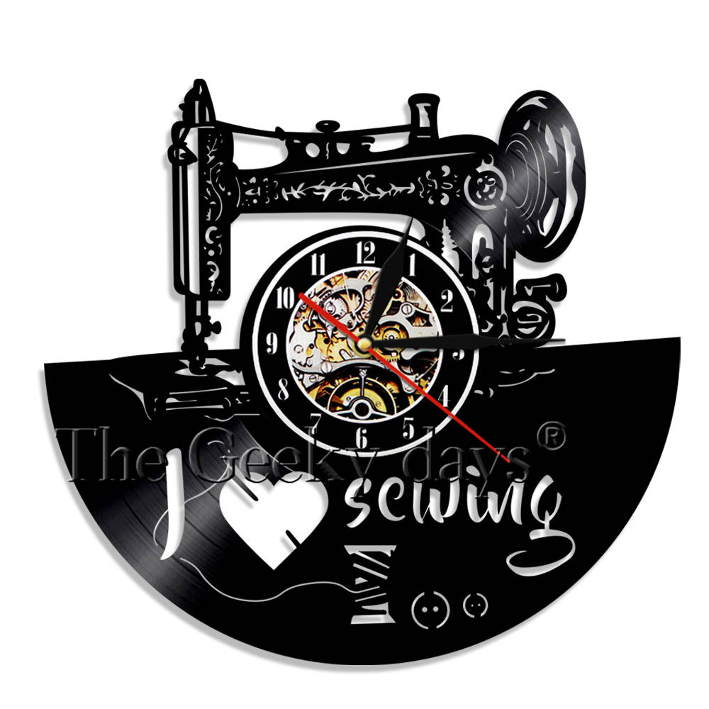 Led Lamps 1piece Vintage Sewing Machine Different Sewing Tools Decorative Lighting Vinyl Record Wall Clock Craft Room Led Hanging Lamp