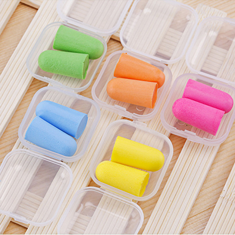 5 Pair Candy Sponge Ear Plugs Ear Protector Anti Noise Sleep Study Helper Working Earplug Foam Plastic Box Packaging