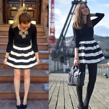 Mulheres spring dress casual alta qualidade mulheres moda 2017 listrado preto-branco túnica vestidos