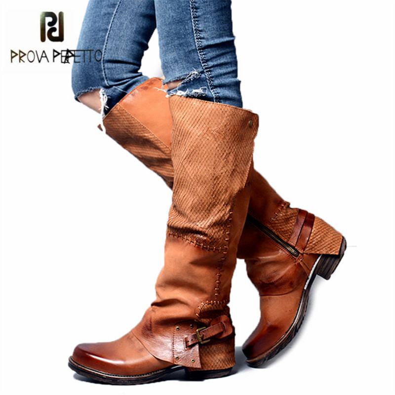 Prova Perfetto Sewing Women Knee High Boots Autumn Winter High Boots Genuine Leather Flat Shoes Woman Platform Botas Mujer