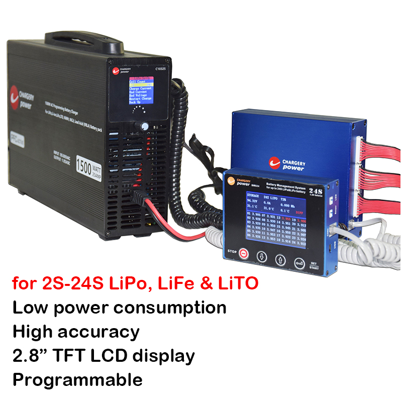 600A 2S 24S Lithium LiPo Lifepo4 LTO BMS Smart 1 2A Balance Display 1500W 24S Charger