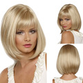 35cm Synthetic Straight Bob Hair With Bangs African American Short Blonde Wig For Black Women For African American Free shipping
