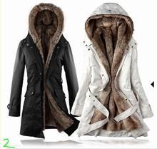 Removable Lining Women's Long Design Faux Fur ur Coats Winter Warm Coat Jacket Clothes Women's Clothing as Snow Wear