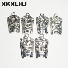 XKXLHJ 10pcs Charms FRIES 25*14mm Tibetan Silver Plated Pendants Antique Jewelry Making DIY Handmade Craft