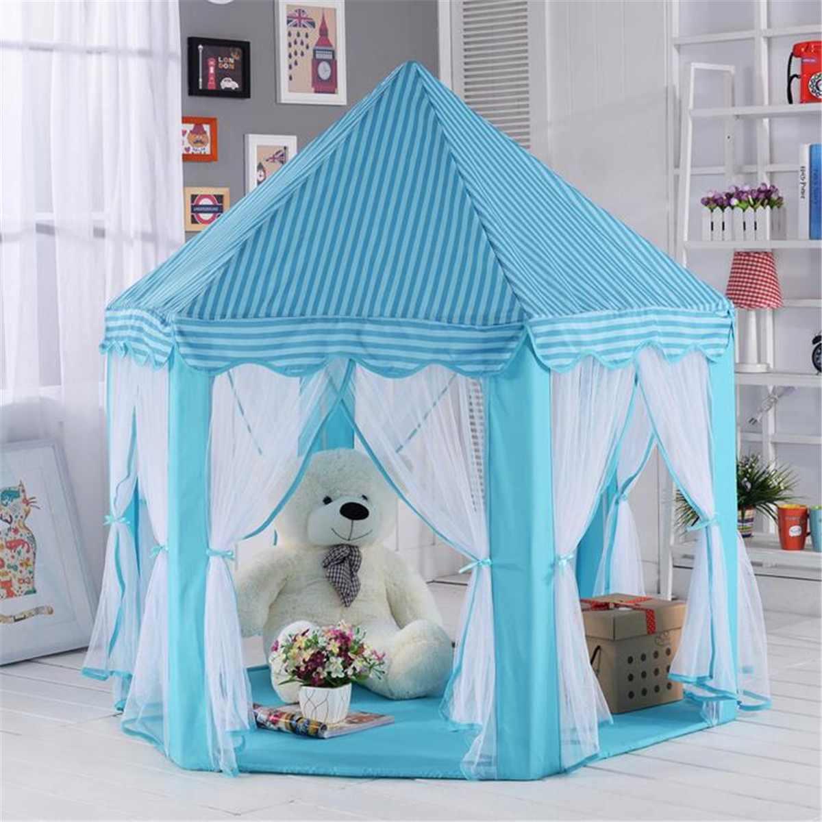 Enfants enfants tentes hexagone Playhouse dormir dôme intérieur extérieur filles château tipi grande tente de jeu bébé jouets maison balle piscine