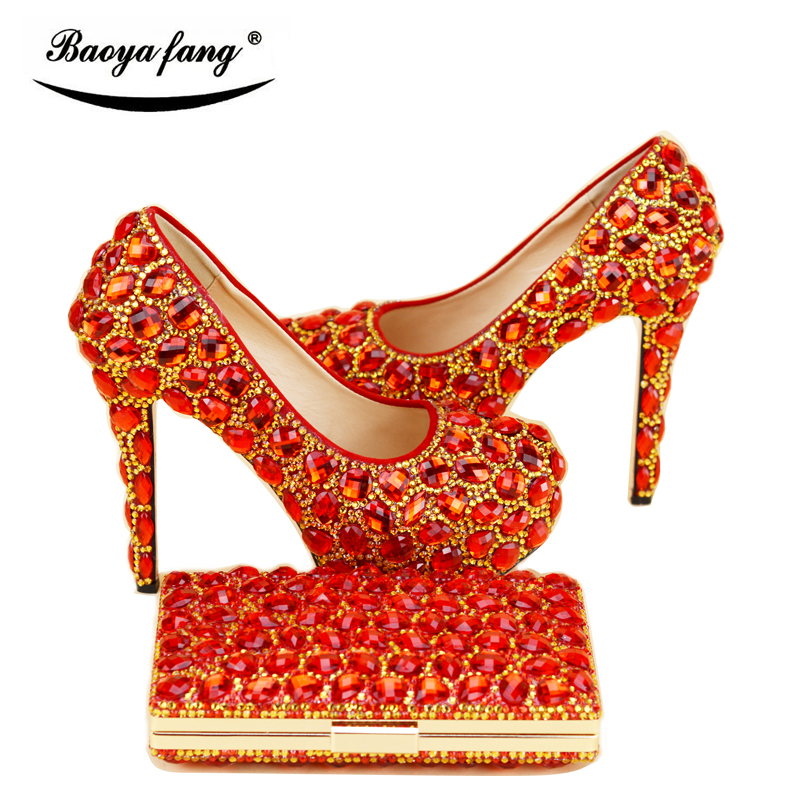New arrival Womens Wedding shoe with matching bags bride High heels Pumps fashion Platform shoes woman party dress shoes baoyafang red crystal womens wedding shoes with matching bags bride high heels platform shoes and purse sets woman high shoes