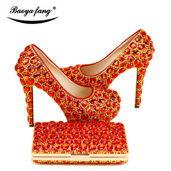 New arrival Womens Wedding shoe with matching bags bride High heels Pumps fashion Platform shoes woman party dress shoes