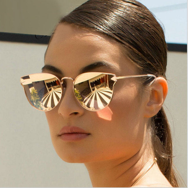 98c6bca3273 Arrow Shapes Brand Designer Rose Gold Women Mirror Cat eye Sunglasses Metal  Nose pad Sun Glasses Vintage Cateye Wholesale Price