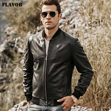 FLAVOR Men's Real Leather Jacket Men Baseball Lambskin Genuine Leather Slim fit  Coat