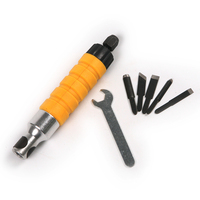 1 Set Electric Wood Chisel Carving Tool Hammer Chuck Attachment With 5 Carving Chisels For Rotary