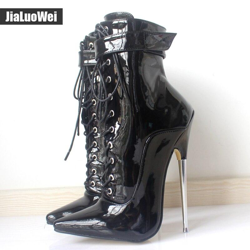 """Em estoque ~ ~ Sexy 6 1/4 """" Pointy Toe de salto alto botas com cadeado Dagger-1023 desviante sizes5 – 15 frete grátis"""