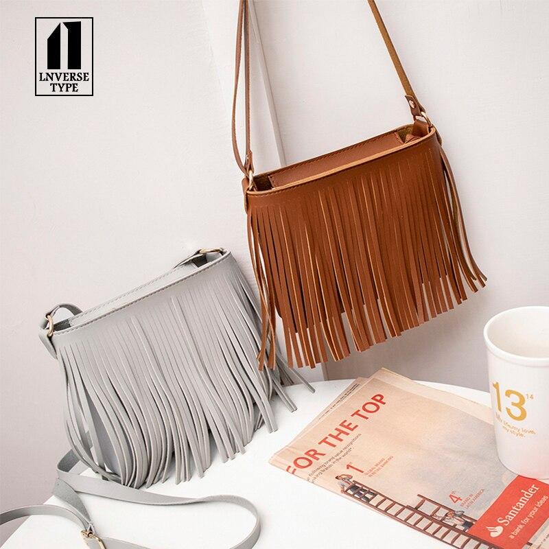 Handbag Purse Crossbody-Bag Fringed Messenger Shoulder Brown Faux-Suede Black White Hot-Sale