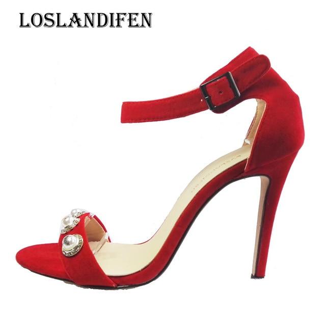 Loslandifen Mujeres Boda Vestido de Fiesta Zapatos Flock Tobillo ...