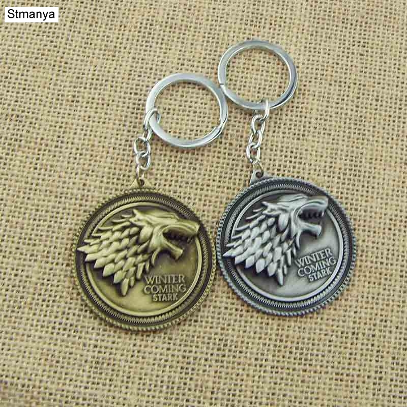 FREE SHIPPING Hot Sale Fashion Key Chain Game of Thrones Stark Family Stark badge keychain Wholesale Car Key Ring #1-17118
