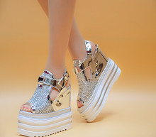 2019 Summer Platform Sandals Women 13CM Wedges Thick Bottom Casual Shoes Comfortable White Hook & Loop Sandals Sneakers