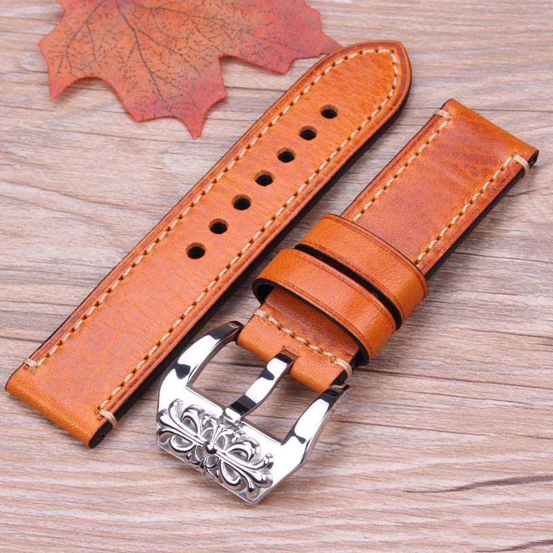 Embossed Buckle Strap 20 22 24mm Genuine Leather Watchband 4 Colors Women Men's Thick Bracelet Belt Watches Accessories For Pam